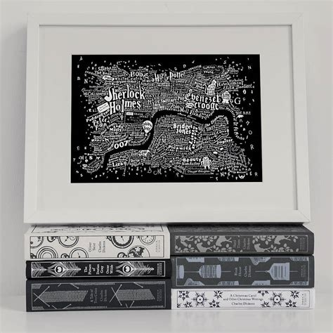 literary london a street literary central london map art print by run for the hills notonthehighstreet com
