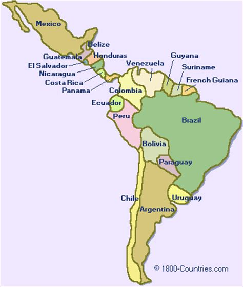 maps of south america and central america