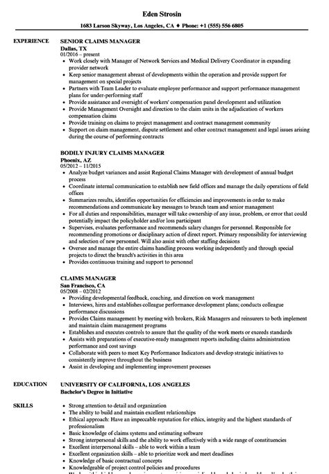 Claims Manager Resume by Claims Manager Resume Sles Velvet