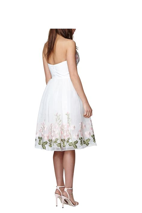 white patterned midi dress chi chi london floral midi dress in white lyst