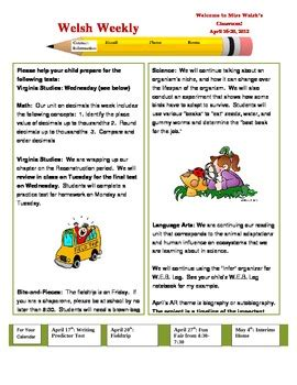 Weekly Classroom Newsletter Template By Beg Borrow And Teach Tpt Monthly Classroom Newsletter Template