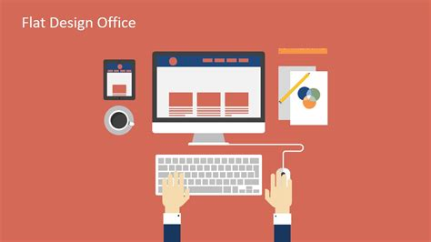 powerpoint templates office computer desk illustration for powerpoint slidemodel