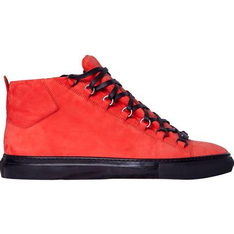 balenciaga sneakers mens balenciaga high top sneakers in orange for lyst