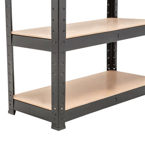 5 tier heavy duty boltless metal black shelving storage