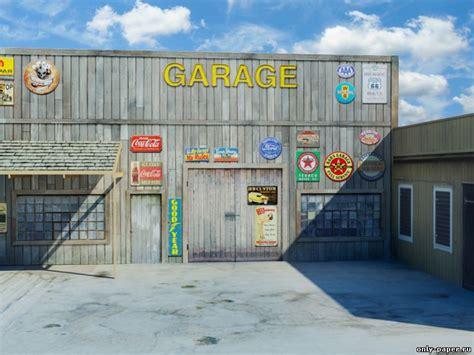 printable garage diorama backgrounds архитектура из бумаги скачать модели бумажные бесплатно