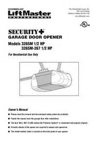 Overhead Door Garage Door Opener Manual Chamberlain Garage Door Opener 3265m 1 2 Hp User S Guide Manualsonline