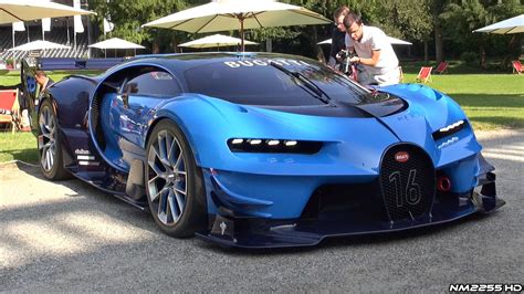 bugatti pickup bugatti vision gt huge exhaust sounds loud revs driving