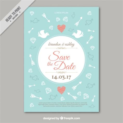 Wedding Card Vintage Vector by Beautiful Vintage Wedding Card With Drawings Vector Free