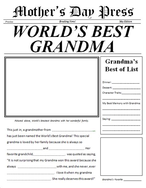 printable grandma questionnaire mother s day newspaper for grandma free printable for