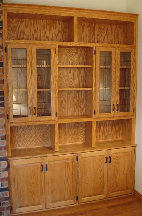 Build China Cabinet by Built In Oak China Cabinet With Stained Glass Doors