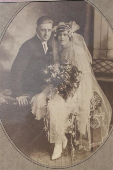 early  vintage photo wedding picture flapper era bride groom