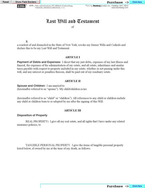 New York Last Will And Testament Form Download Free Premium Templates Forms Sles For New York State Living Will Template