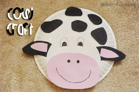 Cow Paper Plate Craft - paper plate cow craft
