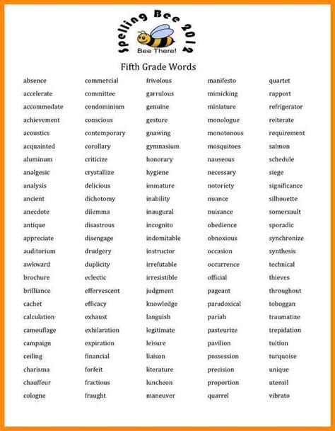 spelling bee sight words for spelling bee words grade boxfirepress
