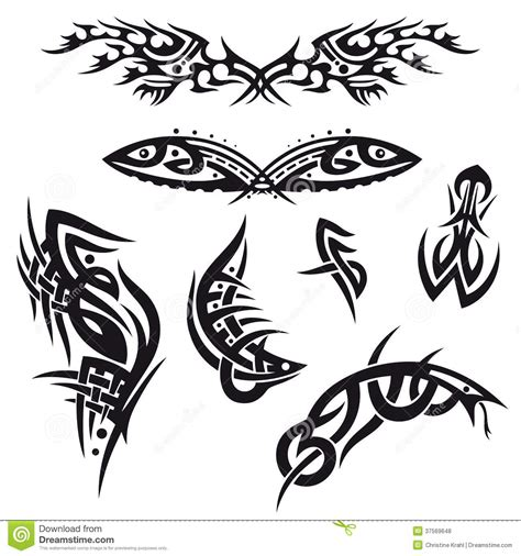 set of tribal abstract tattoos vector free download tribal tattoo set stock vector image of ornamental