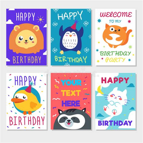 How Many Sts For A Birthday Card Set Of Cute Animals Poster Cute Happy Birthday Greeting