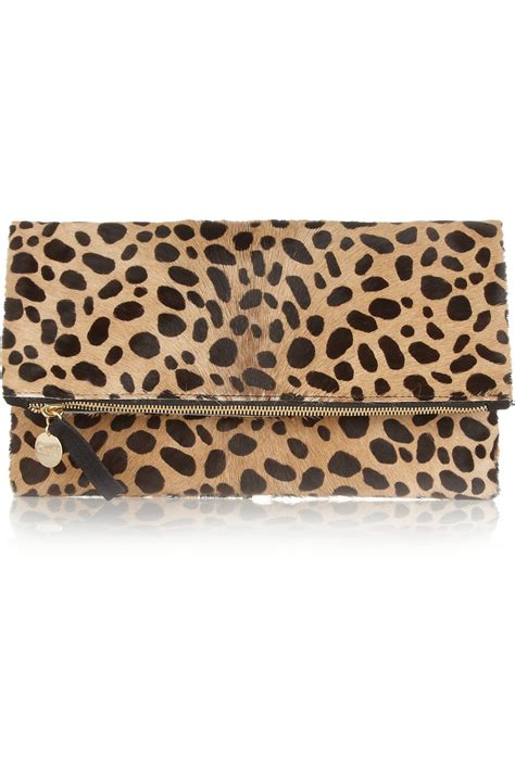 Leopard Print Clutch clare v foldover leopardprint calf hair clutch in animal