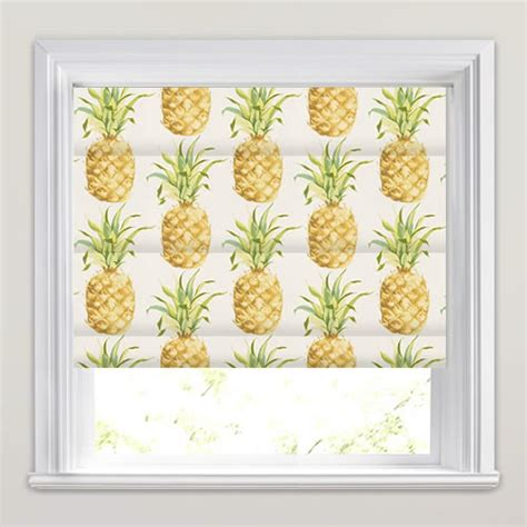 yellow pattern roman shade golden yellow green white pineapple patterned roman blinds