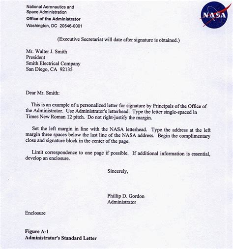Official Nasa Letterhead Npr 1450 10d Appendixa