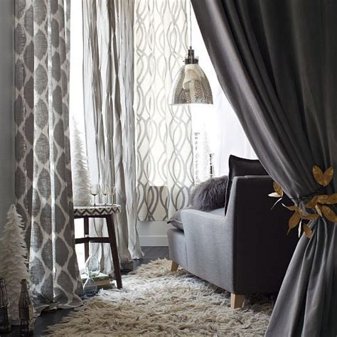 White Ikat Curtains Ikat Ogee Linen Curtain Ivory Platinum West Elm Living Room White Living