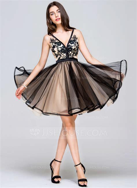 Mini Tulle Dress a line princess v neck mini tulle prom dresses with