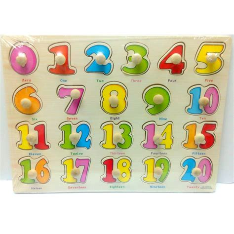Puzzle Knob Number Type A wooden education knob puzzle number 0 20