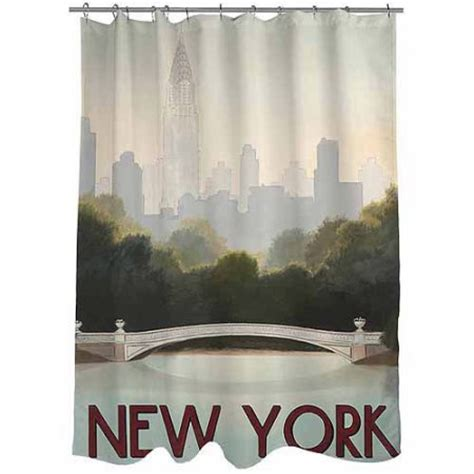 new york city skyline shower curtain thumbprintz city skyline new york shower curtain walmart com