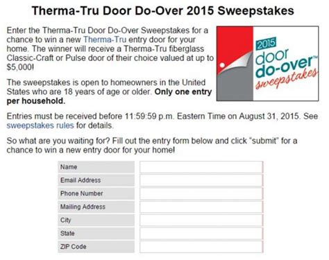 Todays Homeowner Com Sweepstakes - therma tru todayshomeowner com doordoover sweepstakes sweepstakes pit