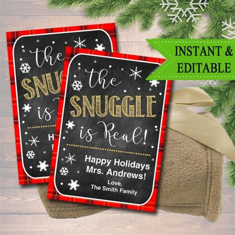 editable  snuggle  real christmas gift tags secret etsy