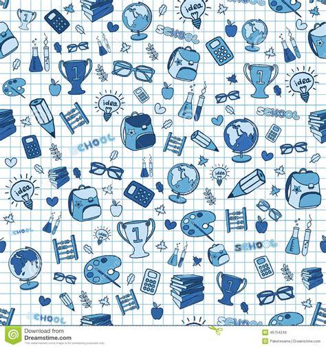 doodle effect seamless school background stock vector image
