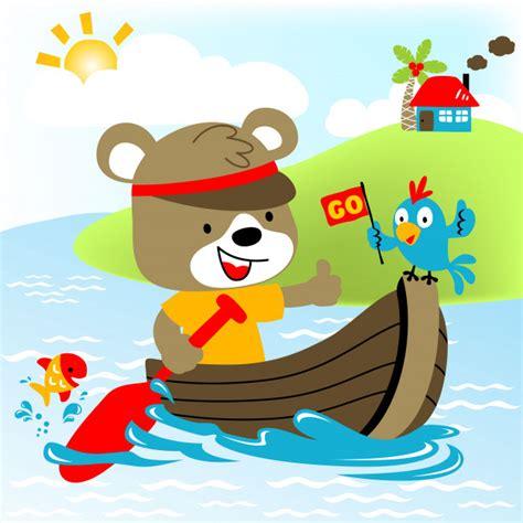 animal cartoon on boat cute animals on boat vector cartoon illustration vector