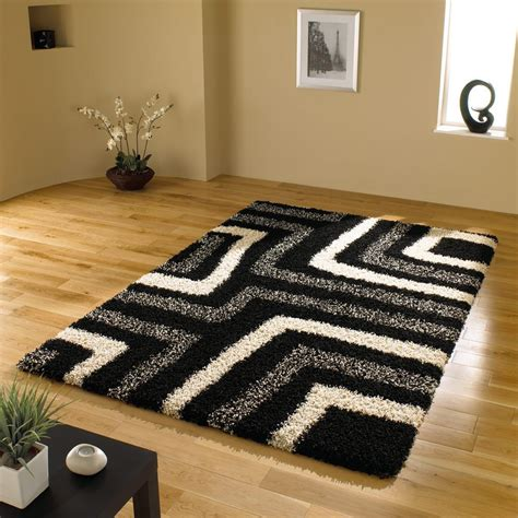 black modern rug large quality shaggy modern rug in black