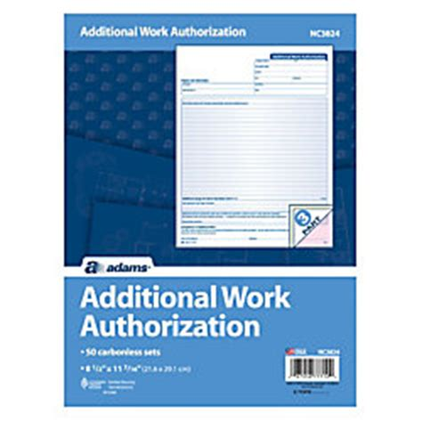 additional work authorization template additional work authorization forms 3 part
