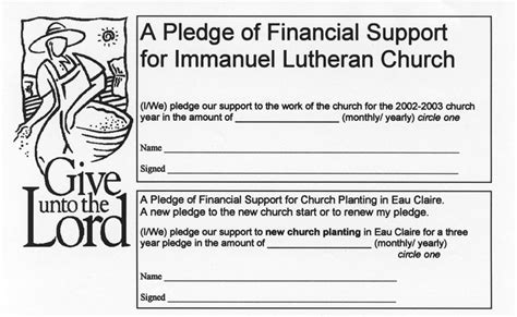 church finacial pledge cards template pledge of financial support