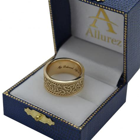 Men's Hand Made Celtic Irish Wedding Band 18k Yellow Gold