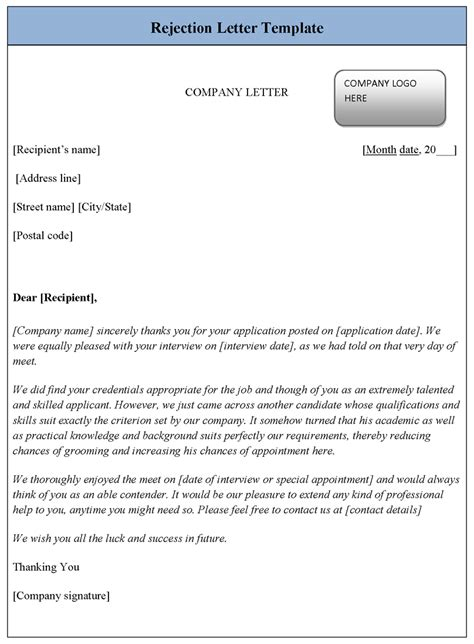 Rejection Letter Template For A Rejection Letter Template Sle Templates