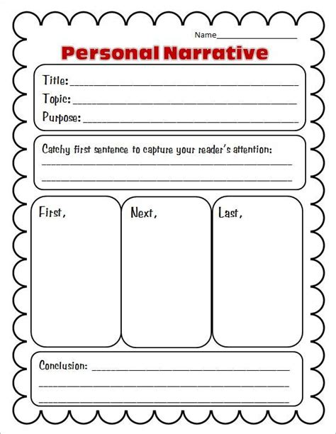 personal narrative writing paper free graphic organizers for writing collection and