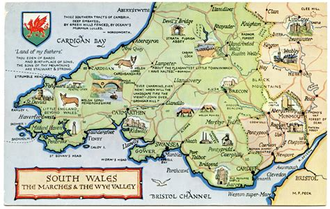 South Wales postcard map of south wales the marches and the wye valle flickr