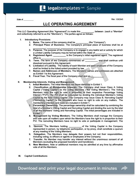 limited liability company agreement template llc operating agreement template create a free llc agreement