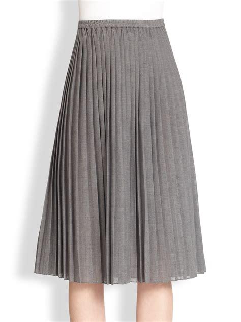 michael kors pleated midi skirt in gray lyst