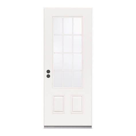 24 Inch Exterior Door Home Depot Jeld Wen 37 438 In X 81 75 In 12 Lite Primed Steel Prehung Right Inswing Front Door