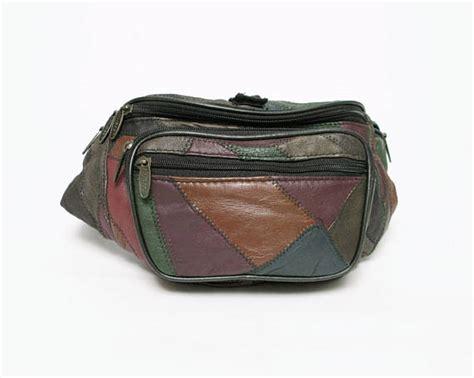 vintage leather patchwork pack bag purse hold all