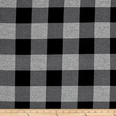 Kemeja Check Black Darkgrey hatchi lightweight sweater knit buffalo check plaid black grey discount designer fabric