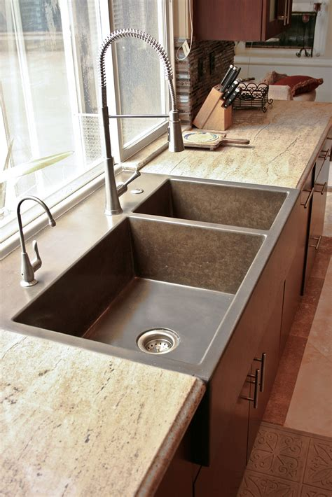 concrete countertops with farmhouse sink kitchen 13 concrete wave design concrete countertops