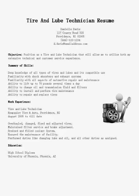 Lube Technician Description by Great Sle Resume Resume Sles Tire And Lube Technician Resume Sle