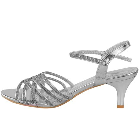 Strappy Bridal Shoes by Womens Diamante Wedding Low Kitten Heel Bridal