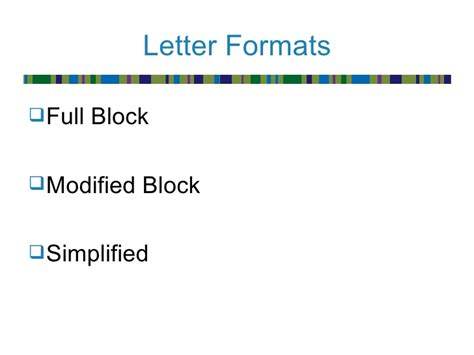 Modified Block Style Business Letter Components Message Formats