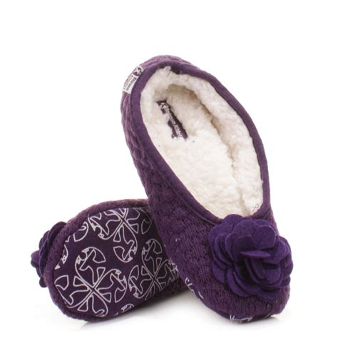 womens bedroom slippers womens bedroom athletics charlize grape fleece knitted slipper pumps size 3 4 8 ebay
