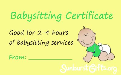 free printable gift certificates for babysitting free printable babysitting gift certificate pictures