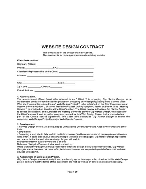 Agreement Letter For Website Website Design Contract Free